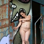 big boobs: Naked girl at the garage