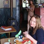 Naked waitress in a roadside cafe