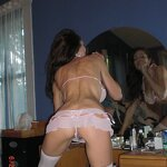 Naked wife in white stockings