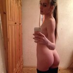 Selfie naked girlfriend in stockings
