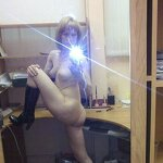 Naked girl takes a selfie in the office, pic 10