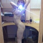 Naked girl takes a selfie in the office, pic 16