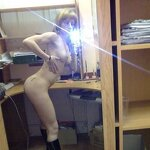 Naked girl takes a selfie in the office, pic 17