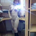 Naked girl takes a selfie in the office, pic 20