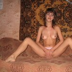 Naked girl at home by the carpet, pic 15