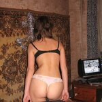 Naked girl at home by the carpet, pic 32
