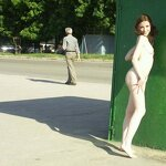 Naked girl at the bus stop, pic 9