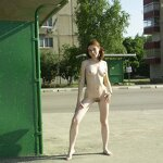 Naked girl at the bus stop, pic 12