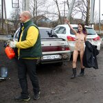 Naked girl in the parking, pic 4