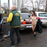 Naked girl in the parking, pic 6