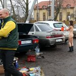 Naked girl in the parking, pic 7