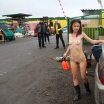 Naked girl in the parking, pic 18