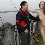 Naked Irena entertains passers, pic 6