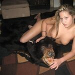Naked woman on the bearskin rug, pic 7