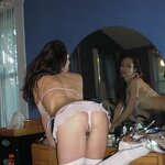 Naked wife in white stockings, pic 7