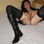 Naked wife in stockings and boots, pic 34