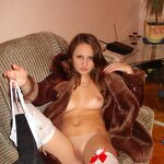 Naked wife in a coat, pic 4