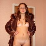 Naked wife in a coat, pic 8