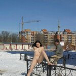Naked on a winter street, pic 2
