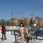 Naked on a winter street, pic 3