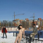 Naked on a winter street, pic 4
