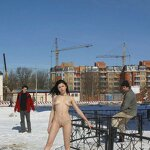 Naked on a winter street, pic 6