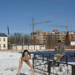 Naked on a winter street, pic 8