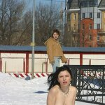 Naked on a winter street, pic 14