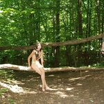 Naked in a forest park, pic 7