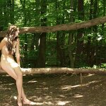 Naked in a forest park, pic 16