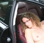 Beauty poses and sucks in a car, pic 16