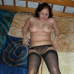 Chubby girl posing in stockings, pic 12