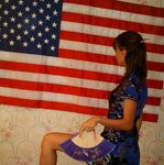 Whore posing naked under the flag of her country, pic 23