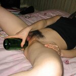 Fucked herself with a bottle, pic 27