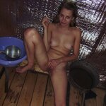 Wife doing blowjob in the sauna, pic 16