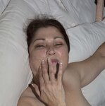 Wife plays with cum in mouth, pic 2