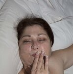 Wife plays with cum in mouth, pic 3