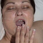 Wife plays with cum in mouth, pic 5