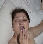 Wife plays with cum in mouth, pic 11