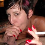 Wife smokes and does blowjob, pic 27