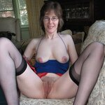 Wife in stockings outdoors and at home, pic 2