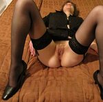 Wife in stockings outdoors and at home, pic 36